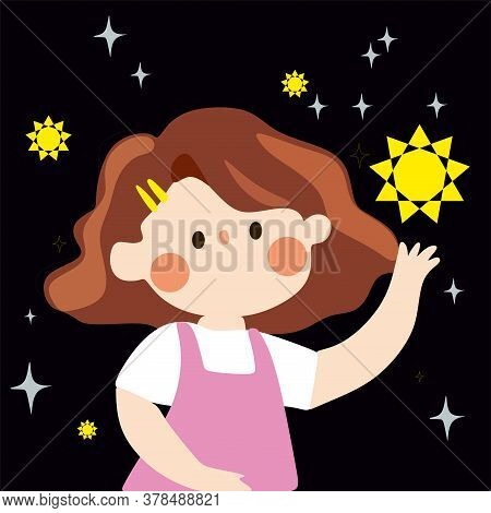 The Girl With The Stars.a Cute Little Girl In A Pink Jumpsuit And White T-shirt Collects Yellow Star