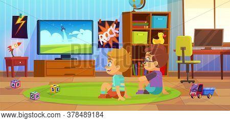 Kids Watch Tv. Children Interior, Child Boy Teenagers Apartment, Boys Sitting On Carpet With Friend