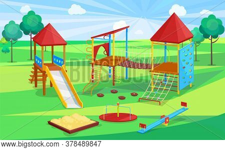 School Playground, Sandbox And Slide, Climbing Wall And Rope With Stairs, Carousel Sign. Children Ac