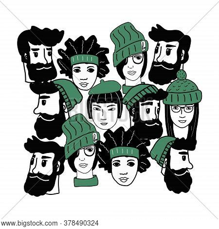 Happy People-a Hand-drawn Pattern Of A Crowd Of Different People From Different Cultural Backgrounds