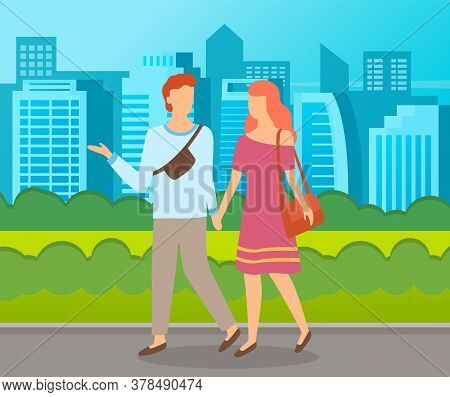 Couple Walking In A Park. Young Guy And Girl Holding Hands Walking In Summer City Alley, Romantic Wa