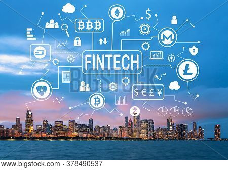 Cryptocurrency Fintech Theme With Downtown Chicago Cityscape Skyline With Lake Michigan