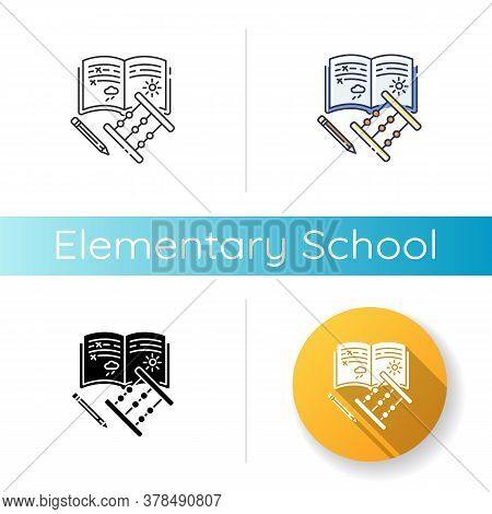 Elementary School Icon. Linear Black And Rgb Color Styles. Primary Education, Basic Knowledge. Junio