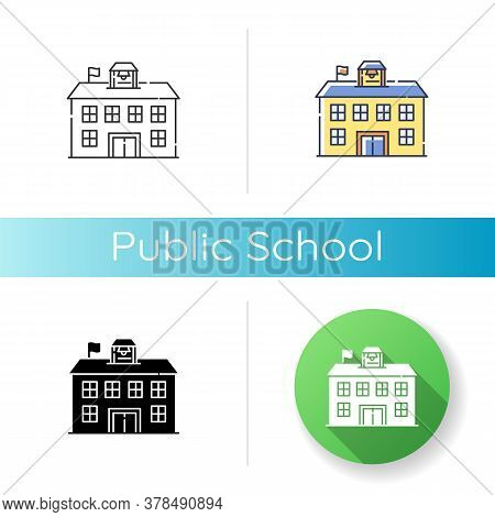 Public School Icon. Linear Black And Rgb Color Styles. Educational Institution Funded By Government.
