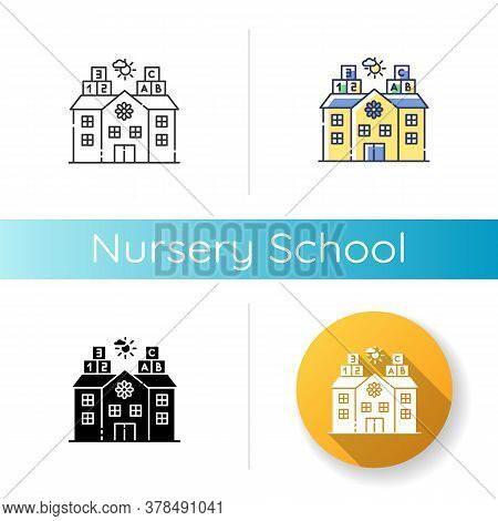 Nursery School Icon. Linear Black And Rgb Color Styles. Pre Primary, Elementary Education Establishm