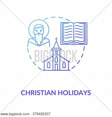 Christian Holidays Concept Icon. Traditional Religious Events And Festivals. Christianity Idea Thin