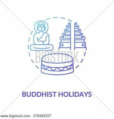 Buddhist Holidays Concept Icon. Religious Indian Festivals Celebration. Buddhism Idea Thin Line Illu