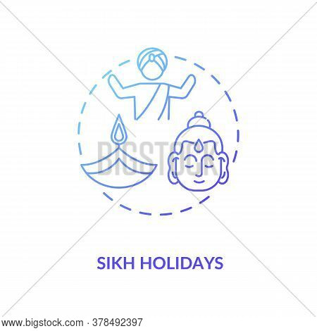 Sikh Holidays Concept Icon. Indian Religious Festivals, Traditions And Culture Celebration. Sikhism