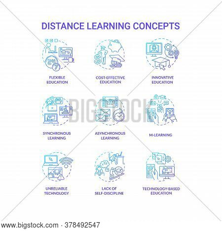 Distance Learning Concept Icons Set. Remote Classes. Cost Effective Education. M Learning And Innova