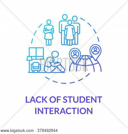 Lack Of Student Interaction Concept Icon. Socialization Difficulties. Online Education Disadvantages