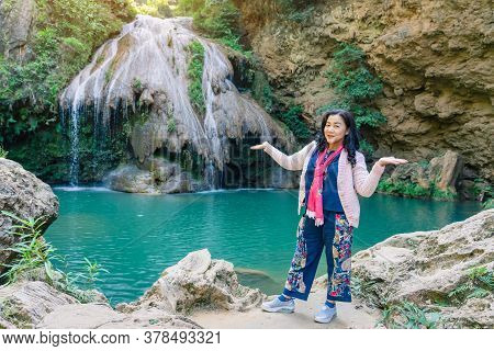 Lamphun Thailand - December 9 :  Unidentified Female Tourists Taking Pictures And Selfies On Decembe