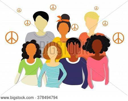 Multiethnic Group Of People Surrounded By Pacifist Symbols. Vector Abstract Illustration.