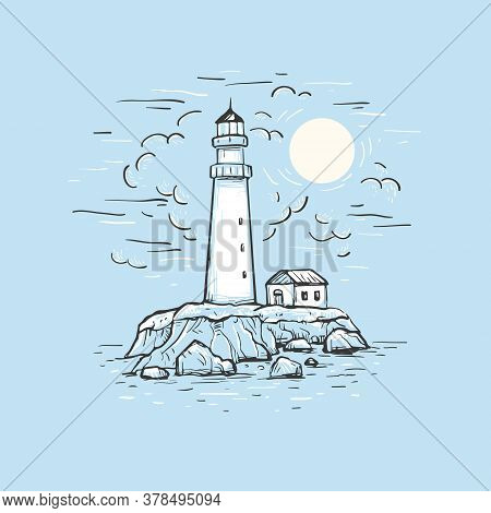 Marine Romantic Blue Background. Hand Drawn Vector Sketch With Lighthouse, House, Sea And Sky. Desig