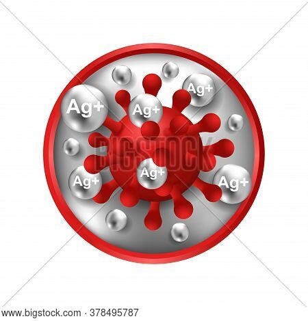 Silver Ions Ag Plus Action 3d Icon - Antibacterial Effect Of Ion Solution - Science, Chemistry And T