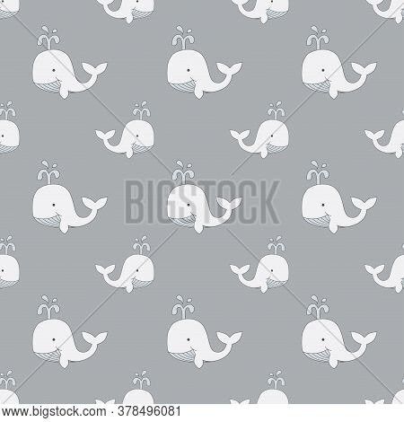 Whales Drawing Kids Seamless Pattern. Whale, Hand Drawn Cartoon Pattern For Baby And Children Print,