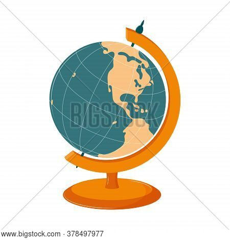 Student Globe From South And North America. School Equipment For Geography, A Symbol Of The Planet,
