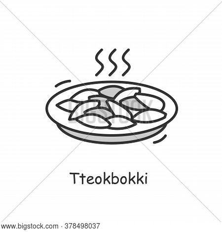Tteokbokki Icon.traditional Korean Dish Outline Sign On White. Stir Fried Rice And Salty Fish Cakes