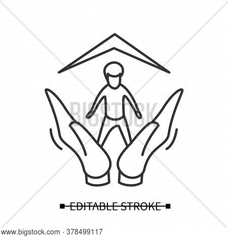 Child Adoption Icon. Boy Avatar Safe In Loving Hands, Under New Home Roof. Concept Pictogram For Orp