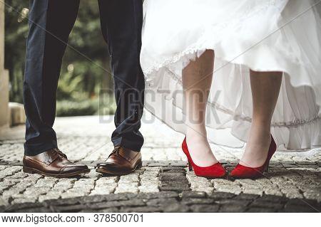 Bride's And Groom's Funny Crossed Legs