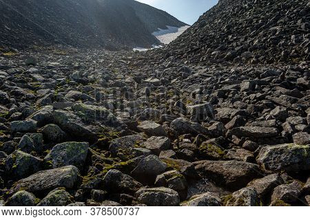 Large Boulders Of Rock, In A National Park In The Polar Urals, Russia. Hiking Concept.