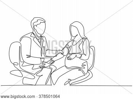 One Single Line Drawing Of Male Obstetrics And Gynecology Doctor Checking The Patient Blood Pressure
