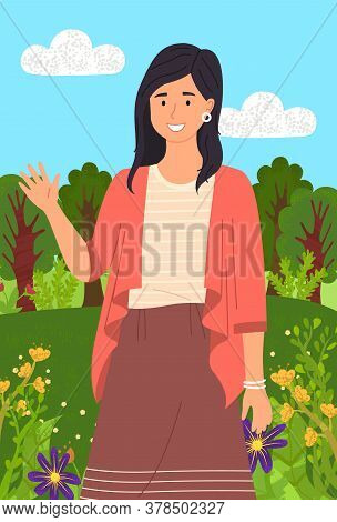 Beautiful Girl In A Summer Garden Near Flowerbed. Stylish Portrait Of Young Woman Flat Style. Smilin
