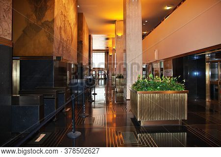 New York / United States - 01 Jul 2017: Rockefeller Center In New York City, United States
