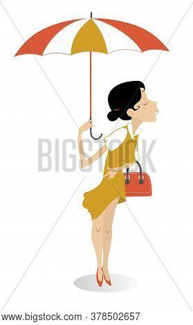 Pretty Young Woman With Handbag And Umbrella Illustration. Smiling Young Woman With Handbag And Umbr