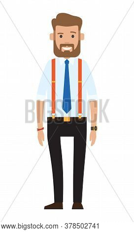 Cartoon Illustration Of A Handsome Young Bearded Businessman. Man In Official Cloth, Flat Design. Ma