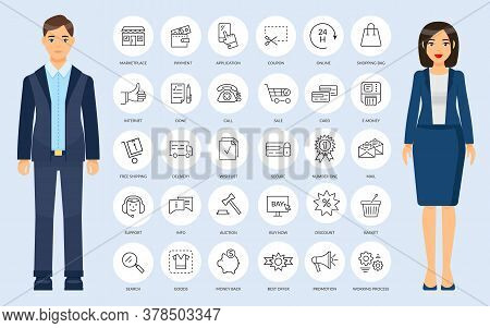 Thin Web Icons In Outline Style. Office Collection Of Simple Signs For Mobile App Or Website. Web Sh