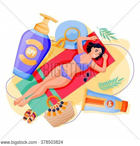 Summer Face Body Solar Protection. Woman Sunbathing With Sunblock. Vector Illustration Of Girl And S