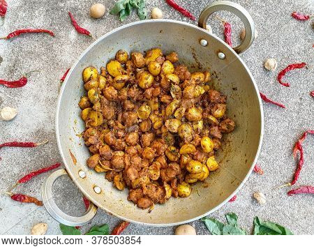 Aloo And Nutri Spicy Veg - Potato And Nutri Soya Chunks Spicy Vegetable Stock Photo