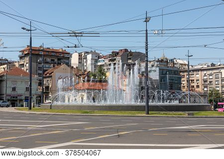 Belgrade, Serbia - June 30, 2019: Big Water Fountain At Slavija Square In Belgrade, Serbia.