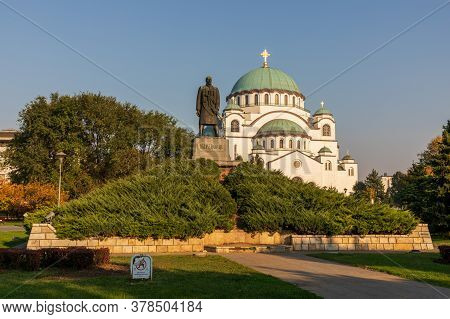 Belgrade, Serbia - October 15, 2019: White Marble Orthodox Church Saint Sava In Belgrade, Serbia.