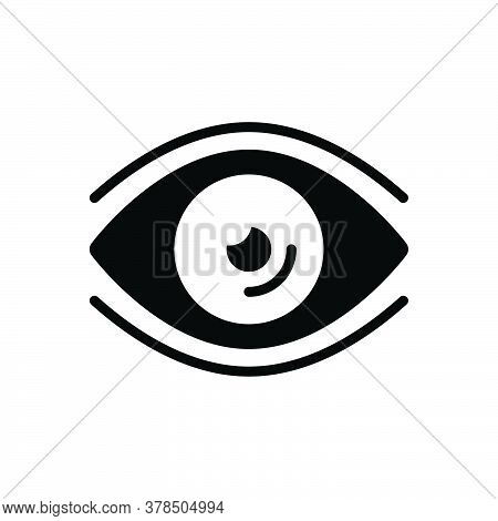 Black Solid Icon For Eye Vision See View Look Sight Watch Eyesight Peep Eyeball Glimmers Optical