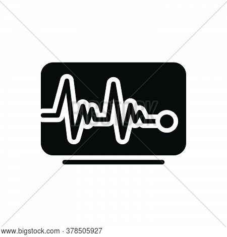 Black Solid Icon For Pulse-line Pulse Line Heart-rate Cardiology Heart-rhythm Surveillance Waveform