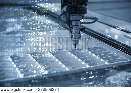 The Abstract Scene Of Abrasive Water Jet Cutting Machine Nc Code Background. The Hi-technology Sheet