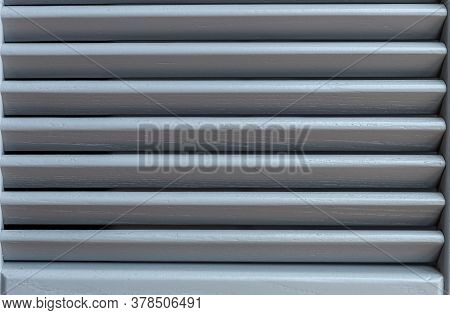 Light Through The Wooden Shutters And Blinds. Soft Home Decor.  Retro Style. Luxury White Indoor Pla