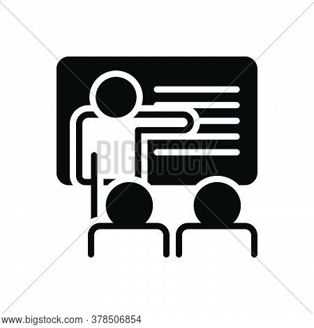Black Solid Icon For Teaching Teach Coach Teacher Student Learn Education Lecture Trainer Presentati