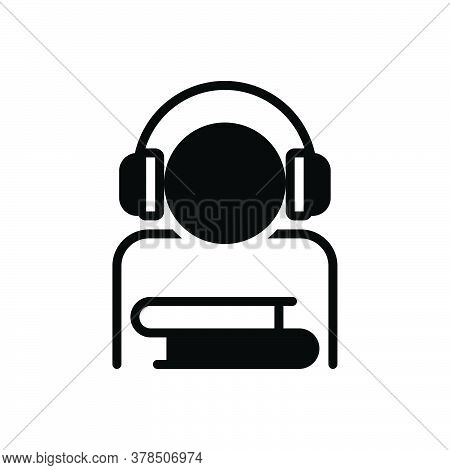 Black Solid Icon For Audio-course Course Audio-book Digital Device Earphone Education Study Training