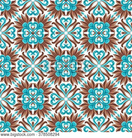 Italian Ceramic Tile Seamless Pattern. Mediterranean Porcelain Pottery. Ethnic Folk Ornament. Mexica