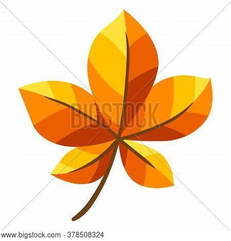 Illustration Of Autumn Chestnut Leaf. Stylized Seasonal Yellow Plant.