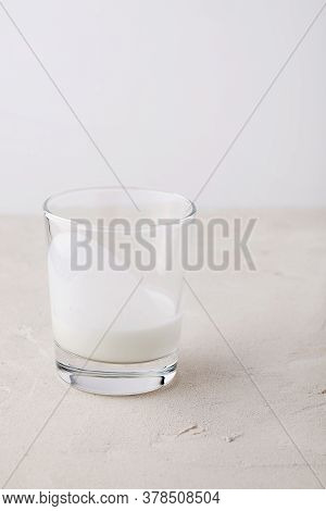 Homemade Probiotic Milk Kefir Drink Or Ayran For Breakfast In Glass On White Background. Trendy Supe