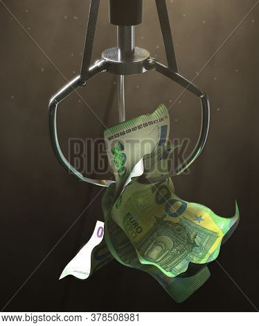 A Robotic Claw From An Arcade Type Game Gripping A Wad Of Creased Euro Bank Notes On A Dark Moody Ba