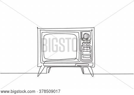 Single Continuous Line Drawing Of Retro Old Fashioned Tv With Wooden Case And Leg. Antique Vintage A