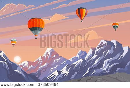 Beautiful Evening Landscape With Pink Clouded Sky And Mountains. View At Evening Summer Scenery With