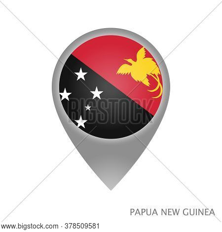 Map Pointer With Flag Of Papua New Guinea. Papua New Guinea Pointer Map Isolated Icon. Vector Illust
