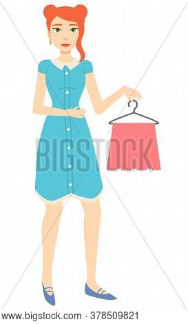 Girl With Red Hair In Blue Dress Holding Pink Skirt On Hanger Isolated On White. Clothes Shopping, F