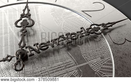 A Clock Concept With A Grid Map Of A City And The Minute Hand Saying New York On It Describing The S