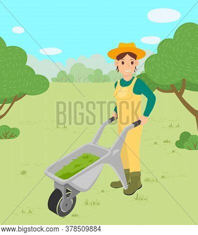Farming Woman Pushing Trolley Vector, Female Character With Cart Smiling Farmer. Meadow With Trees A